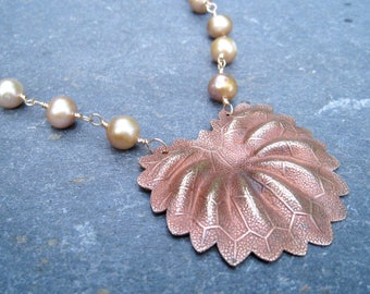 Vintage Brass Leaf, Leaf Pendant, freshwater pearls, gold filled necklace, pearls and gold, Recycled Jewelry, Upcycled Pendant, SweetTaBou