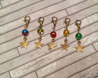 Star Stitch Markers// Bronze Progress Keepers// Beaded Knitting Markers