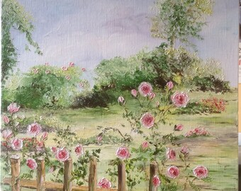 """Palette knife oil painting """"flowered fence"""" table bucolic English garden"""