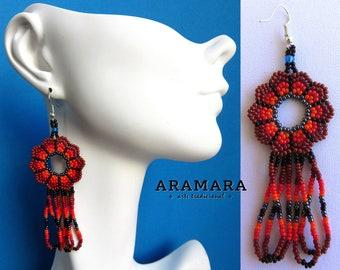 Loop Earrings, Native american earrings, Mexican folk art, Huichol Earrings, Mexican earrings, Mexican Jewelry, Round earring, AR-0126