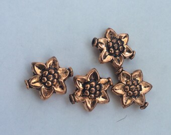 Solid Copper Flowers 15 x 18mm 3 per package