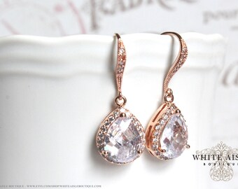 Rose Gold Bridal Earrings Wedding Jewelry Bridal Earrings Faceted Cubic Zirconia Tear Drop Crystal Earrings Gold Plated Brass