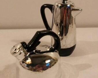 Coffee Teapot Salt and Pepper Shakers Retro Chrome Look