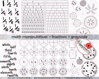 Math Manipulatives Fractions GRAYSCALE Clipart Set - (300 dpi) School Teacher Clip Art Numbers Math Fraction Bars Circles and Food