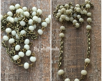 BC133 Vintage Style Handmade Linked Layering Chain with Faceted 6mm ALABASTER crystals  and Chain
