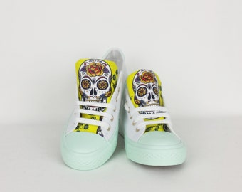 Mint yellow shoes, sugar skull, day of the dead, women shoe, rockabilly, gift for her, birthday gift, summer shoe, dia de los muertos, skull