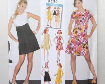 1960's Retro Sheath Dress in 2 Lengths - Simplicity Uncut Sewing Pattern 3833 Size 6 - 14; Long Sleeve, Short Sleeve, and Sleeveless Options