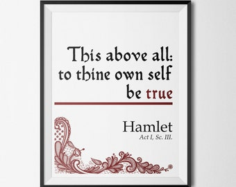 To thine own self be true Hamlet Shakespeare lace quote 8.5 by 11 Instant Downloadable Print