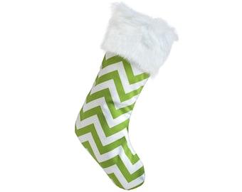 Designer Christmas Stockings - Green & White Chevron Modern Christmas Stocking