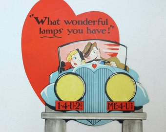 Vintage Valentine 1940's Very Large What Wonderful Lamps You Have! spicy vintage valentine for your girlfriend