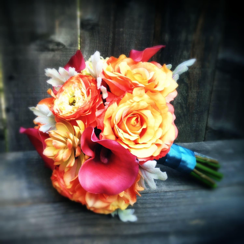 Crimson Calla Orange Rose Silk Wedding Bouquet: Tangerine