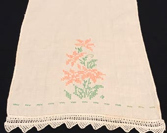 Vintage Linen Napkin with pink and green