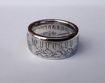 Ring coin 5 lire Italy Silver (coin ring)