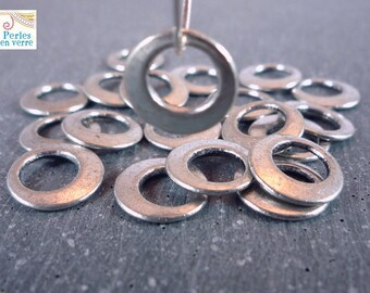 12 rings, silver, 11mm, (pm103) beads