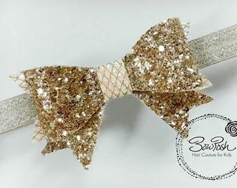 Bev- Gold glitter bow, gold glitter headband, glitter bows, glitter bow, gold bow headband, gold and ivory bow, faux leather bow, BowPosh