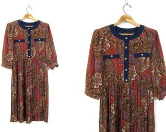 Vintage Pleated 80s Dress Button Front Secretary Midi Dress Retro 3/4 Sleeve Brown Floral Pattern Dress Womens Size 6 Small Medium