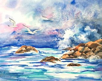 Seascape Watercolor, Ocean Waves, Rocks, Beach, Seagull, Original Art, Martha Kisling