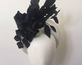 Black and white fascinator, kentucky derby hat, kentucky oaks hat, ascot hats, races hat, fascinator, halo fascinator, fashion