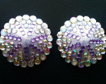 Mermaid Dream burlesque pasties Purple & AB rhinestone nipple covers Silver tassels Erotic lingerie Custom made lingerie