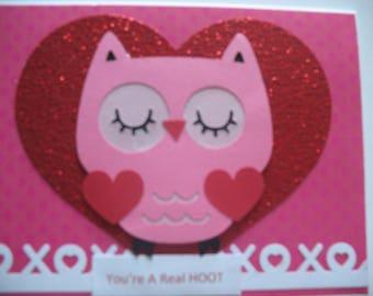 Sale - Owl Valentine's Day Card
