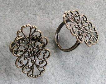 Antique Bronze Oval Filigree Ring Blanks 20mm x 31mm 510