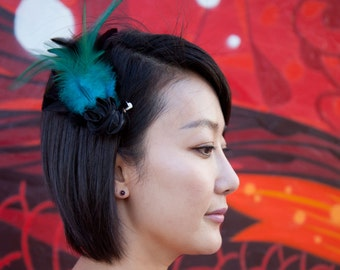 Teal Feather Barrette with black feathers and black satin rose.