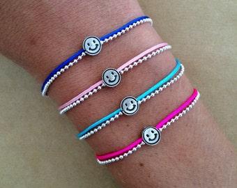 The Happy Face Frienship Ball Chain Bracelet in many colours - Happiness Bracelet, Smiley Bracelet, Positivity Bracelet, Adjustable Bracelet