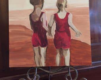 Beach Children Original Oil Painting Daily Painting