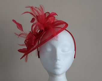 Red Sinamay and Feather Fascinator on a hairband, races, weddings, Ascot, Derby, Melbourne Cup