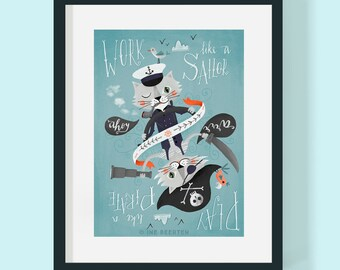Pirate Sailor Cats Giclée Art Print 16x12""