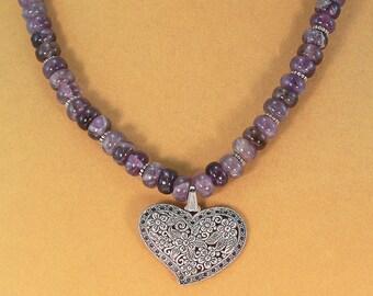 Amethyst necklace, heart pendant, gemstone necklace, purple jewelry, Genuine amethyst.