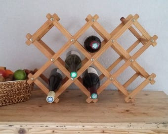 """Accordion"" wooden bottle rack"
