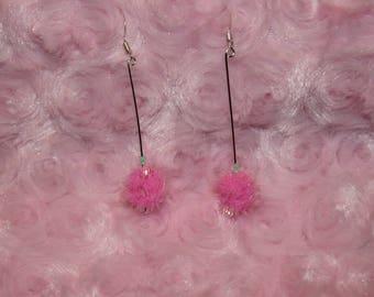 Small Pink Pom Pom earrings