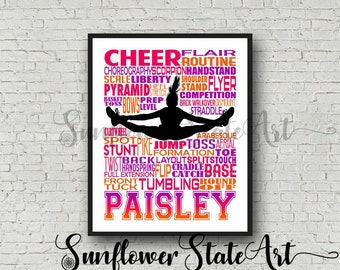 Cheerleading Typography Poster, Cheerleader Art, Cheerleading Gift, Gift for Cheerleaders, Cheer Team Gift, Cheerleading Print