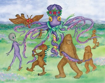 Cryptids and Aliens Dance around the Maypole Print