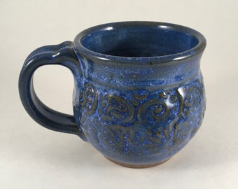 Blue Pottery Mug, Textured Mug, Stoneware Mug, Ceramic Coffee Cup, Handmade Pottery, Ready to Ship!