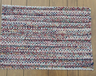 Multicolored Twined Rectangular Rag Rug