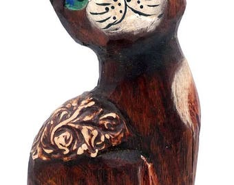 Wooden cat, vintage cat, cat figurine, vintage figurine, wooden figurine, wood figurine, vintage wood, cat ornament, cat collectible