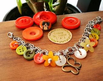 Orange Button Bracelet, Button Charm Bracelet, Flower Charm Bracelet, Charm Bracelet, Button Bracelet, Orange Buttons, Butterfly Bracelet
