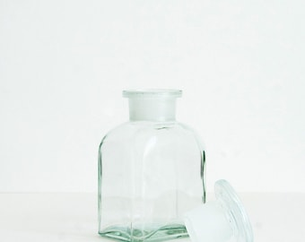 150 ml (5 fl oz)Clear Apothecary Jar, Square Czech Glass