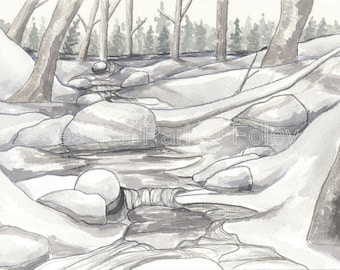 Watercolor Giclée Print - Snowy Vermont Stream Landscape Painting