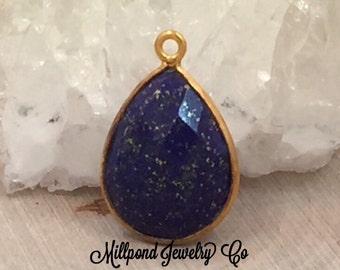 Lapis Lazuli Pendant, Gemstone Pendant, Bezel Pendant, Lapis Lazuli Bezel Pendant, 22K Gold Plated, PG3002