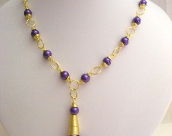 Purple Pearl and Tassel Necklace