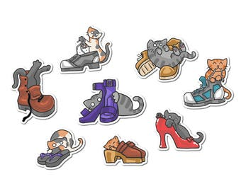Cute Cats Stickers Shoe Stickers Paper Stickers Journaling Sticker Flakes Cute Cats Grey Cats Funny Humor Silly Stationery Scrapbooking