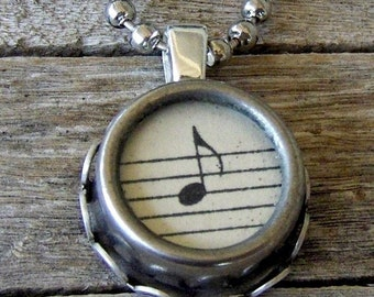 Music Pendant Necklace, Typewriter Key Necklace,  Vintage Musical Note, Classical Music