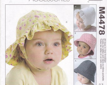 FREE US SHIP Sewing Pattern McCall's 4478 Toddler Baby Kids Bonnet Brim Hats Ball CapUncut Factory Folded  Boy Girl New 2004