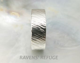 7mm men's wedding ring white gold -- twisted wheat wedding band -- organic and textured