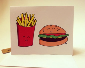 You are the burger to my fries, hamburger pun doodle drawing card made on recycled paper