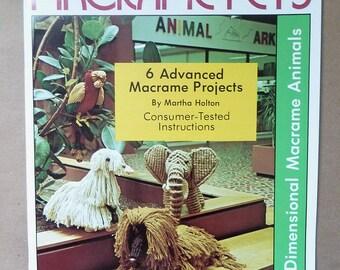 Vintage Macramé Patterns - Macrame Pets - Fully Dimensional Macramé Animals - Macramé Mallard - Macramé Elephant- Macramé Persian Cat - 1977