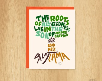 Hand Lettered Dalai Lama Quote Thank You Card, Unique Thank You Card, Roots Thank You Card